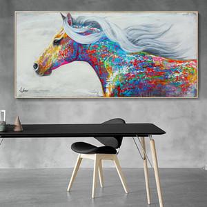 Cheval coloré moderne toile oeuvre cheval peinture à l'huile impression sur toile grand mur de toile affiche pour la maison salon décoration