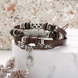 Brown Color Wing Moon Leather Bracelets & Bangle for Men Women Vintage Feather Multiple Braided Bracelets Wrap Wristband Jewelry