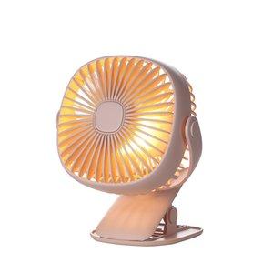 Economico regolabile 360 Rotante 5V USB portatile da tavolo ABS Mini Clip Fan con LED luce notturna calda