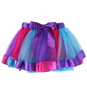 Sevimli Çocuk Kız Renkli Tutu Etek Rainow Parti Bale Dans Giyim Prenses Pettiskirt Çocuk Kız Kostüm