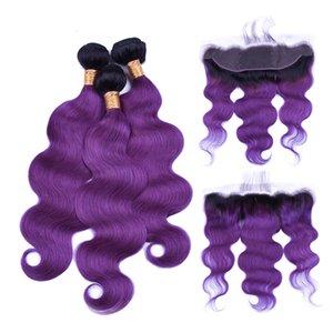 Silanda Hair Ombre #t 1b / Purple Body Wave Remy Human Hair Weave 3 paquetes de tejido con un cierre frontal de encaje de 13x4 envío gratis