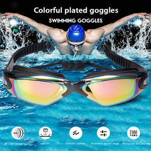 Professional Swimming Goggles swimming glasses with earplugs Nose clip Electroplate Waterproof Silicone