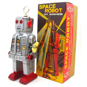 NB Cartoon Tinplate Retro Wind-Up Angry Robot, Clockwork Toy, Eyes Can Spark, nostálgica Ornament, Kid Birthday Xmas Gift, Collect, MS403, 2-2