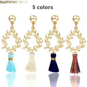 Neue Mode Boho Ethnische Kristall Perlen Lange Quaste Ohrringe Ethnische Mode Böhmische Bunte Quaste Ohrringe Hohl Waterdrop Form Seide