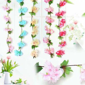 New Fashion Artificial Vine Flowers Cherry Blossoms Garden Hanging Flower Ivy Vine Wedding Party Home Decoration Accessories