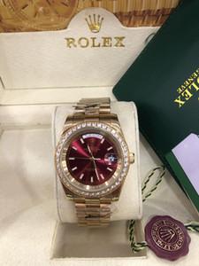 Оригинал сертификата окно 2020 Новый 18k Gold президент DayDate Diamonds Часы Мужские нержавеющей Алмазный диск Автоматические WristWatch Мужские часы