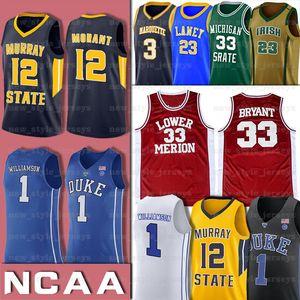 Zion 1 Williamson NCAADuke Blue Devils Jersey 12 Ja Morant Murray State Basketbol Formalar 33 Aşağı Merion GÜÇ ANIT 33 LEW Alcindor