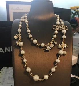 2020 nuevos collar de las mujeres collar de cadena de la estrella del corazón del melocotón suéter de la perla del envío libre 030901