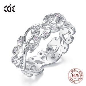 CDE Argent 925 anneaux pour les femmes creux Secret Garden engagement Zircon Annulaire Bijoux Bijoux Femme Taille 6-10