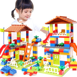 89pcs DIY City House Roof Big Particle Building Blocks Castle Educational Toy For Children Duplo Bricks Baby Gifts