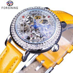Forsining желтый кожаный прозрачный цветок Назад Skeleton Royal Crown Мода Lady Diamond Роскошные женщины механические часы Часы