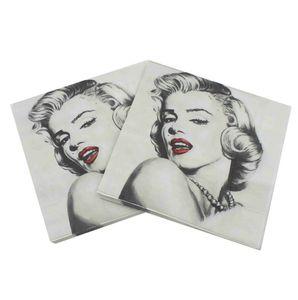 20pcs / lot / pack Imprimé Caractéristique Serviettes En Papier Rose Pour La Décoration De Noce Tissu Découpage 33cmx33cm 2019