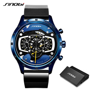 Relogio Masculino SINOBI Montre Homme Car Creative Montres Homme Mode Casual Speed ​​Racing Sport Chronograph Silicone Quartz