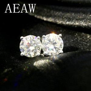AEAW Круглый Moissanite серьги стержня для женщин Твердое белое золото 14K Fine Jewelry 0.25ct 0.5ct 1ct 2ct