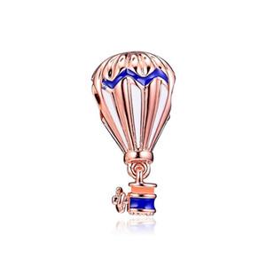 100% realer 925 Sterlingsilber-Blau / Rot Emaille Heißluft-Ballon baumelt Charme-Anhänger-Korn-Fit-Frauen-Geschenk europäischen Armband Diy Schmuck