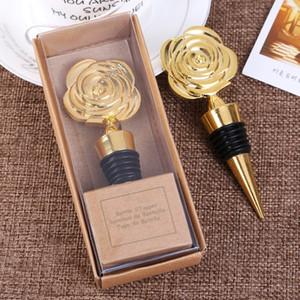 moda ouro rosa rolhas de vinho com caixas de presente Rose Wine Flores Garrafa Fontes do partido brindes casamento Stopper homewareT2I5548