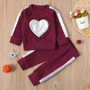 2PCS Newborn Infant Baby Girls Clothes Sets Heart Ruffle Sweatshirt Tops Long Pants Outfits Sport Suits Tracksuit 0-3Years
