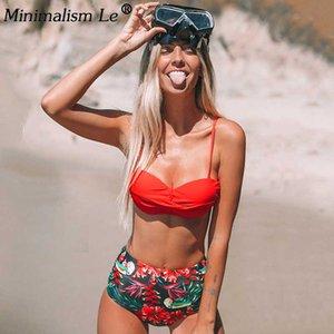 Les femmes Push Up Bikinis sexy imprimé floral Bikini taille haute Bandage maillot de bain Maillots de bain été Beachwear Femme Swimwuit