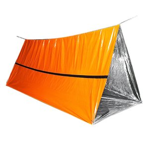 Orange Emergency Shelter Outdoor Waterproof Thermal Blanket Emergency Rescue Camping Shelter Foldable Survival Tent