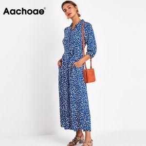 2020 Women Elegant Long Printed Dresses Three Quarter Sleeve Bohemian Maxi Dress Turn Down Collar Shirt Dress Vestidos Mujer MX200518