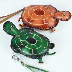 Handgemachte 3D Turtle Geldbörse aus echtem Leder Mini Wristlet Strap Zip Closure Clutch Bag Cartoon Tier Schlüsselbund Karteninhaber Kind Geschenk Brieftaschen