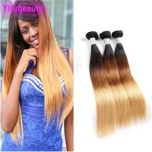 Virgin Indian Raw Cheveux 1B / 4/27 droite 3 Bundles Ombre Produits Cheveux raides Tissages Dropping Expédition 3pcs