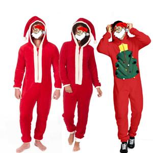 Novedades Mujer Hombre Unisex pijamas para adultos rojas de la felpa de Navidad Santa Claus con capucha pijamas M-3XL