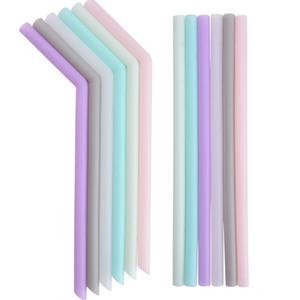 Pajita de silicona multicolor de silicona reutilizable paja doblado doblado recto paja Inicio barra complementaria T2I5242 tubo de silicona