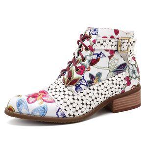 MoneRffi 2019 Forma Mulheres Ankle Boots Imprimir Floral altos das senhoras sapatos de salto partido da mulher Dança Bombas Botas de couro básicos