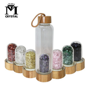 2019 Drop Shipping Natural Crystal Quartz Gravel Gemstone Healing Glass Energy Elixir drink Water Bottle Bamboo glass cup gift Y200330