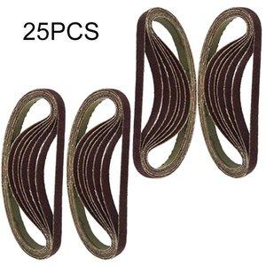 25pcs / Set 330 x 10mm Air Dedo Sander Sadning Belt 60/80/100/120 grão abrasivo correia de lixa banda para madeira macia polimento de metais
