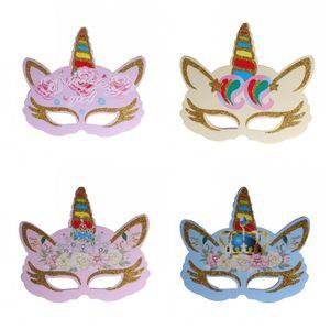 6pcs Or Poudre Couleur Licorne Masque Enfants Cosplay Party Masques Fête d'anniversaire Props Décoration populaire multi Style 2 1rbH1