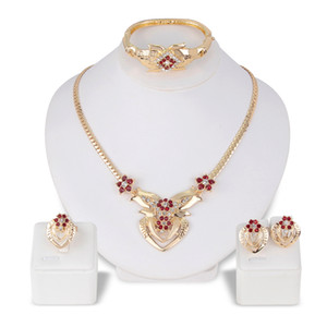 Europe and America exaggerated alloy necklace earrings ring bracelet four-piece set Electroplated KC gold bride necklace set