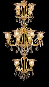 فاخر رائع الذهبي كريستال الثريا برونزية الثريا ضوء ديكورا النحاس اللمعان D90cm H160cm لامبارا دي المناطق التكنولوجية بهو الفندق الإضاءة