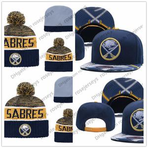 Buffalo Sabres Hockey Gorros de punto bordado ajustable del sombrero del Snapback bordada de oro blanco de azules marinos de cosido sombreros Un tamaño