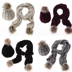 NEW 2018 Winter шарф женщины H Glove наборов Твердых Теплый Багги Hat + шарф крючок шерсти вязать Beanie берет Ski Cap Wrap