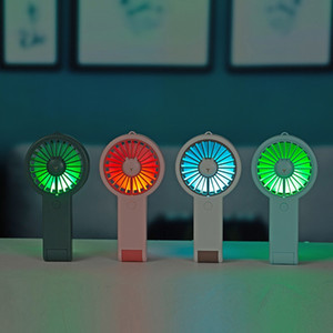 Summer Fan Mini Portable Outdoor Cooling Rechargeable Fan Handheld Desktop Stand Fan with LED Atmosphere Light