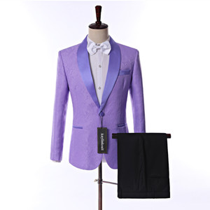 Hot Sell Lavender Paisley Groom Tuxedos Shawl Collar Men Prom Party Dress Blazers Business Suits (Jacket + Trousers + Bow Tie)
