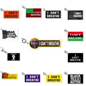 No puedo respirar negro llaveros Vidas Materia Llaveros creativo desfile llaveros de acrílico clave hebilla partido de los accesorios T2I51058 favor