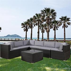 7 Pezzi Patio Furniture Set per esterni sezionale Conversazione Set con soft Cuscini Nero