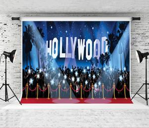 Rüya 7x5ft Hollywood'un Kırmızı Kırmızı Halı Fotoğrafçılık Backdrop Mavi Yıldız Sky Fotoğraf Background Fotoğrafçı Portre Çekim Arka planında Studio Prop