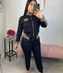 Libera la nave 2020 nuova delle donne Moda Zipper collo giacca e pantaloni Set sottile casuale due pezzi Outfits XXL