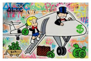 Alec Monopoly dipinto a mano HD Stampa Abstract Graffiti Art Oil Painting Aereo su tela di canapa di arte della parete Deco domestico vA.