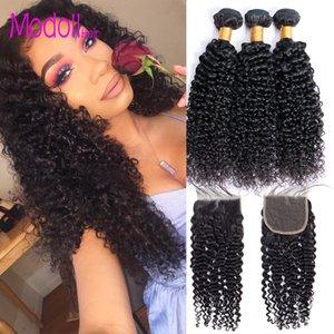 Curly Human Hair Bundles With Closure Kinky Curly Hair Bundles With Lace Closure Remy Brazillian Virgin Hair Weave Bundles With Closure