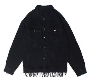 Nero Distrressed Jean Jacket Street Style Mens Abito firmato Hip Hop Mens Jacket Fashion Designer stile sciolto via