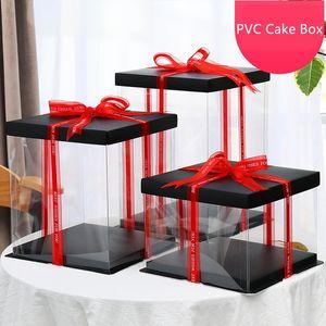 Kek Kutusu için 2020 Yeni Şeffaf Boş Kağıt / PVC Dikdörtgen Hediye Kutusu Konteynerleri Çiçek Ambalaj Düğün Packaging / Noel Favor