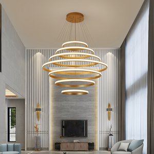 Anillo llevó lámpara colgante sala redonda personalidad creativa dormitorio de la manera lámpara moderno comedor sencilla luz lámparas nórdicos vivir