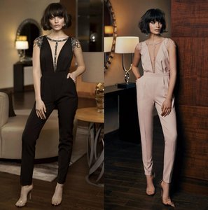 2020 Calças New frisada Evening Clientes Mordern Illusion desfile de moda da luva do tampão Pant Suit tornozelo comprimento macacões com bolsos 1494
