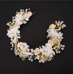 Headband da noiva New Handmade Flor Wedding Hair Band Acessórios Vestido de Noiva de Cristal Cabelo Pente de Jóias Por Atacado