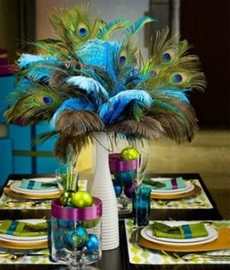 Naturales de la pluma del pavo real real para el vestido Crafts 25-80cm es con Home Hotel habitaciones decoración penachos jarrón de boda
